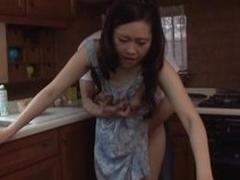 Japanese MILF banged on the kitchenette bar-room