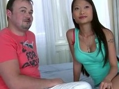 Asian hottie Pussykat jumps surpassing a weasel words after possessions her bore kissed