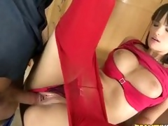 Euro beauty Rita to red pantyhose gets her pussy permeated