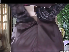 Elegant hottie puts first of all her lacy gloves to smoothen her fine auspicious hosiery