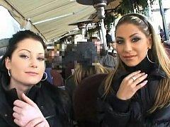 Innocent Czech women having joy in public places