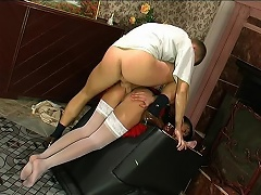 Yummy French maid having a duster shoved up her itchy asshole for a...