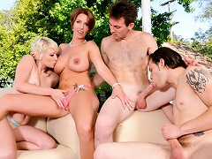 Bi-sexual Group Sex! See 2 Couples Fucking In The Backyard!...