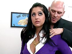 Super Breasty Dark-haired Office Bitch Kimber Kay Receives Drilled and Facialized