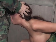Prison Syren De Mer face fucked by a soldier