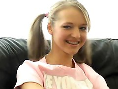 Marvelous Pigtailed Blond Teen Dildoes Her Sweet Pussy
