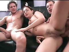 Nerd in glasses savage  sex three-some with facials