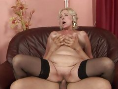 Rampant granny receives her soggy wet crack pulverized