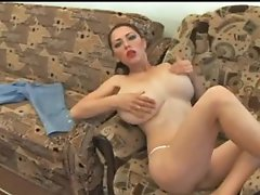 Massive breasts chick dildoing sex