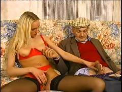 Shy young blond gets with this older chap and swallows his cock