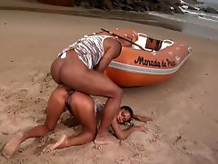 Brazilian Floozy Gets Ass fucking Sex Outdoors In The Beach By a Large Black Cock