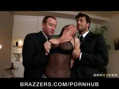 Wicked brunette Tory Lane is busted with toys and gets her face fucked hard in a gang bang