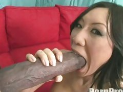 Oriental Tia Ling acquires a giant hard boner in her enjoyable hot mouth.