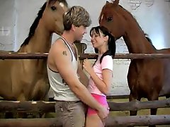 Brutal fucking Anal Sex With Sndy Fun In The Stables With Horses Watching