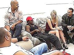 Sassy Blonde Gets An Interracial Gang bang