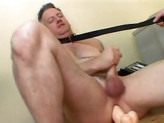 Taskmaster Female Copulates a Submissive Guy With a Dildo and Sits On His Face