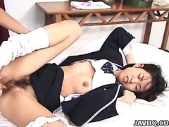 Wife sucks on dark cock as spouse watches