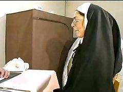 Naugthy nun gets her holes stuffed hardcore