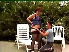 Granny In Glasses And Nylons Outdoor Shave And Fuck