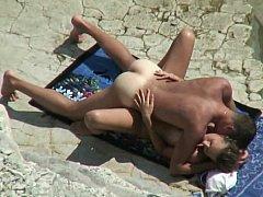 Amateur pair on a beach