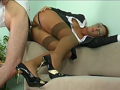 Strict looking office babe takes a hard suggest gagging on meat for...
