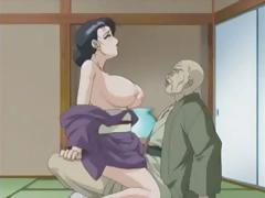 Brunette anime MILF takes big cock in her face hole and hairy cunt
