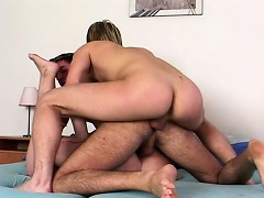 Two juvenile homosexual guys testing a cute bulky girl...