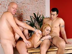 2 men share a blonde shelady who likes to do... everything!...