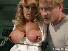 Tit tourture and toy fucking of delightful blonde sex slave
