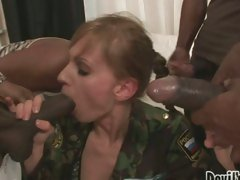Sexy Olga Barz acquires swarmed by darksome jocks willing to attack her mouth