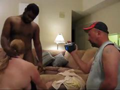 Fat mature amateur fucks a large dark cock whilst her married man films it and then this guy fucks her