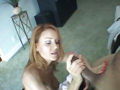 Janet Mason redhead milf stroke off a darksome wang