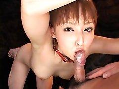 Japanese cutie in bondage engulfing and toyed