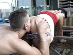 Amateur German jet-black hair gets on her knees to engulf and gets nailed