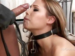 Master skull bonks his serf slut and gags her with his load