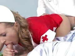 Naughty nurse fucked by doctor as that babe sucks off patient