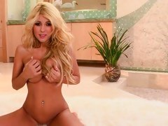 Gorgeous Blonde plays with her perfectly round pointer sisters