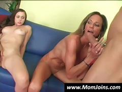 Mommy shows daughter how to suck a penis the right way and receives bawdy cleft licked