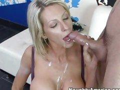 Mature honey Emma Starr enjoys river of cum flowing down her throat