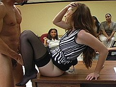 Excited Office beauties getting taboo with male striper