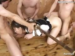 Japanese cutie is fastened up and blindfold as they takes turns with her
