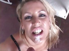 Appealing Chelsea Zinn gets her face splattered with cum