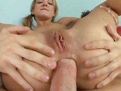 Naughty slut Amy Brooke acquires her taut ass packed with thick cock and drilled