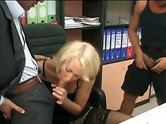 Blonde milf secretary gets double dick pleasure
