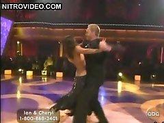 Ebony Beauty Cheryl Burke Dancing In a Revealing Darksome Dress