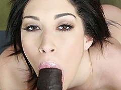 Large ass white slut Vanessa James takes a massive darksome dick in her...