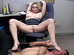Office wench makes the janitor take up with the tongue her sweaty armpit & feet...