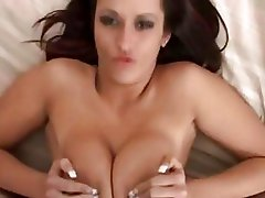 Nice-looking brinete does excellent titjob with her huge mambos