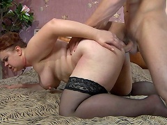 Lascivious mom lets a muscle man hike up her petticoat for a from-behind...
