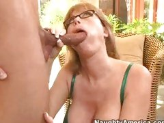 Blond milf Darla Crane opening her face hole with for a fat dick insertion